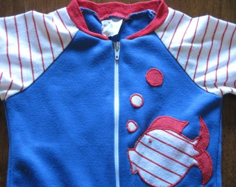 Vintage one piece red, white & blue fish outfit, size 6-9 months