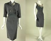 1950's Reserved VANINA PARIS ENSEMBLE Vintage French Designer Dress & Bolero Cocktail Party Sequined Beaded Wiggle Bombshell Mid Century