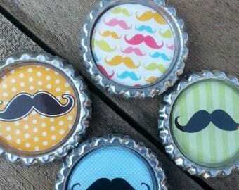 Mustache Bottle Cap Magnets Qty 4