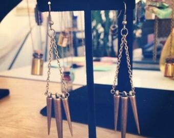 Long Brass Spiked Earrings
