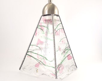 Ceiling Light Fixture - Stained Glass Pendant Lighting - Hanging Lamp - Contemporary Home Decor - Art Glass Shade - Pink and Green