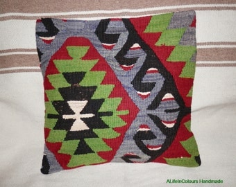 16X16 Turkish Anatolian hand woven vintage Kilim cushion cover, throw  pillow cover.