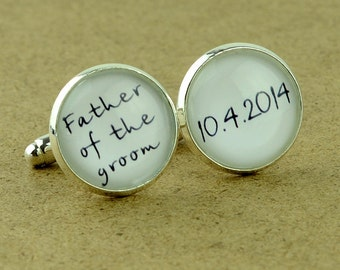 Custom Cuff Links, Personalized father of the bride wedding date cufflinks, Wedding cuff links, Groom cuff links, bestman cuff links-082