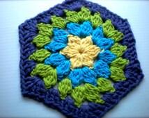 Crochet Cotton Dish Cloth/Wash Cloth; Floral Hexagon Flower