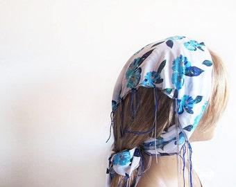 Blue and White Floral Spring Headband, Cotton Head Scarf, Women's Head Wrap, Summer Beach Hair Band Boho Casual, Head Chain, For Women