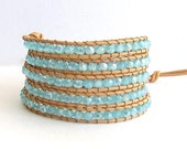 Turquoise Wrap Bracelet - Turquoise Crystal Beads, Natural Leather - Boho Beach Surfer Wrap