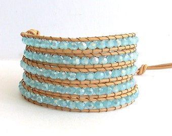 Turquoise Wrap Bracelet - Turquoise Crystal Beads, Natural Leather - Boho Beach Surfer Wrap