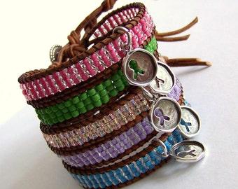 Awareness Leather Wrap Bracelet - Brown Leather, Seed Beads, Sterling Silver Charm - Awareness Friendship Survivor Bracelet