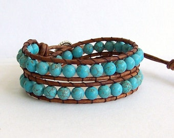 Leather Wrap Bracelet with Turquoise Beads on Brown Leather
