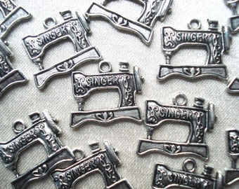 Silver Plated Sewing Machine Charms - 6 Sewing Charm Pendants - Singer Sewing Machine Charms - Seamstress Gift - Sewing Machine Pendants