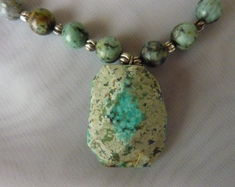 Handmade Turquoise necklace and earring set