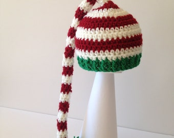 Red, White and Green Christmas Elf Hat