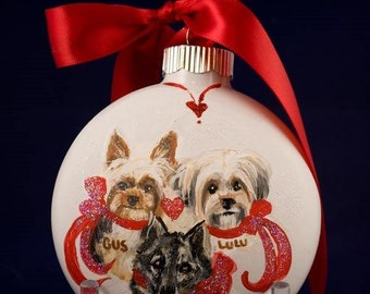 Pet Portrait -three dog ornament