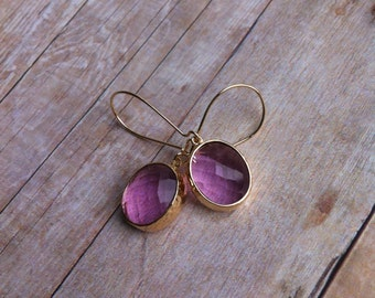 Lavender fields glass dangle earrings
