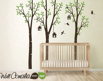 "Baby Nursery Wall Decals - Birdshouse Decal - Tree Wall Decal - Tree Wall Decals - Tree Wall Decal with Birdhouses, Large: 96"" x 93"" - KC021"