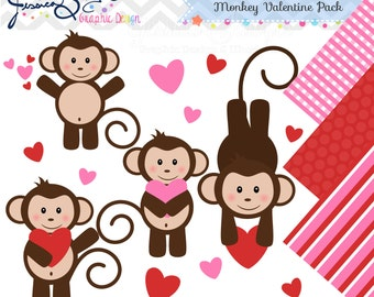 INSTANT DOWNLOAD, valentine monkey clipart, Valentine's Day clip art , for commercial use, personal use, invites, cards, scrapbooking