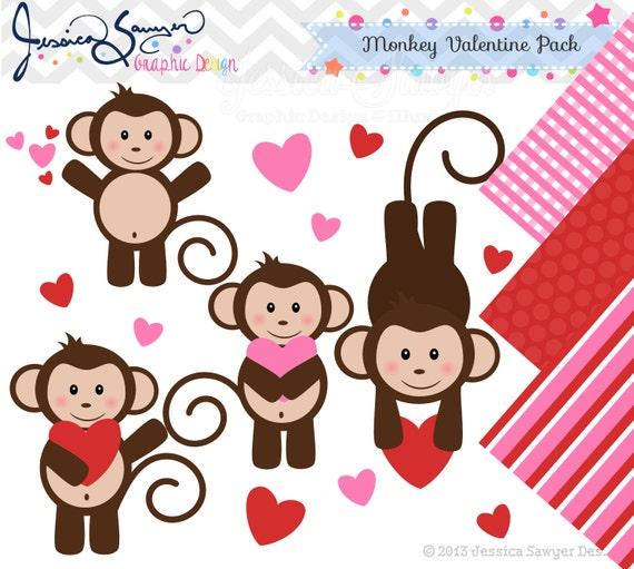 INSTANT DOWNLOAD valentine monkey clipart Valentines Day clip – Monkey Valentine Cards