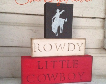 N U R S E R Y // Cowboy Nursery Blocks little boys nursery horses red brown room decor western Rustic