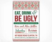 Ugly Sweater Invitation -  PRINTABLE DIY Digital File - Tacky Ugly Christmas Sweater Party Invite - Green Red