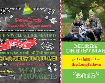 Printable Customized Buddy The Elf Christmas Card - Chalkboard Look 5 x 7 Print - Digital File Only