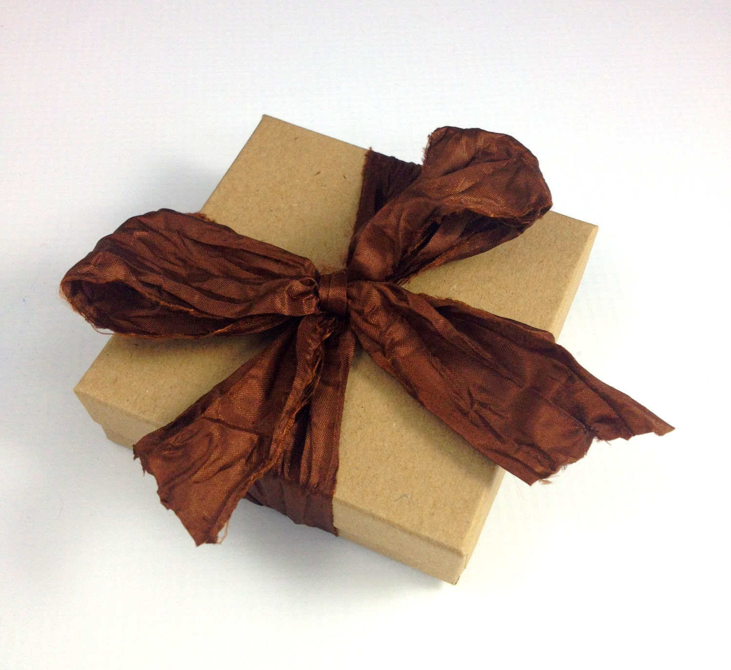 Brown Hand Ripped Satin Ribbon 2 Yards From