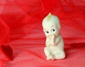 Kewpie figurine. Blue wings. Valentine's gift. 60s  figurine. Bisque porcelain. Made in Japan. Hand painted little Cupid. Girlfriend gift
