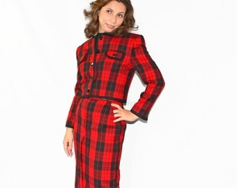 80s JH Collectibles Red Black 2 Piece Set. Checkered Wool  Suit. Size Small. Office Suit. Mad Men Fashion. Valentine's Day