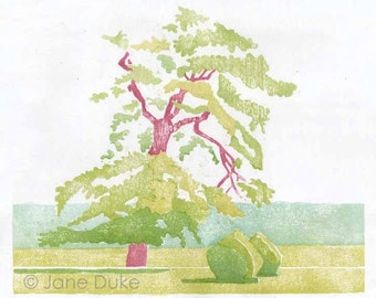 Woodcut mokuhanga print original Japanese watercolour woodblock oak tree and yew bushes  limited edition