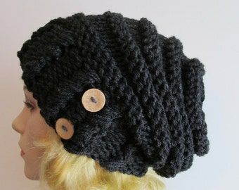 Slouchy Beanie Slouch Hats Oversized Baggy Beehive Beret Buttons womens fall winter accessory Black Heather Chunky Hand Made Knit