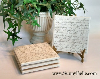 Ceramic Coaster Sets - handwriting; french script; personalization; personalized