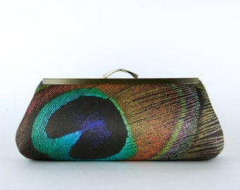 Bridesmaid Gift,  EllenVintage Peacock Chocolate Clutch with Silk lining , Wedding clutch, Bridesmaid luxury gift