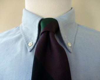 Vintage MARK SHALE Black, Green, & Purple Repp Striped Trad / Ivy League Neck Tie.  Woven in England.