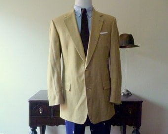 Vintage Brooks Brothers Yellow, Blue, & Orange Plaid Odd Jacket Sport Coat 43 LG. Made in USA.