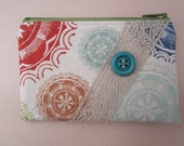 Mandala Change Purse with Turqoiuse Vintage Button and Natural Lace