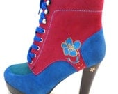 Custom painted 4 inch heel half boot with small flower suede red blue green women's size 8