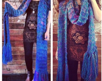 Bulky Knit Extra Long Scarf, Winter Scarf, Thick Knit Long Scarf, Long Fringed Scarf
