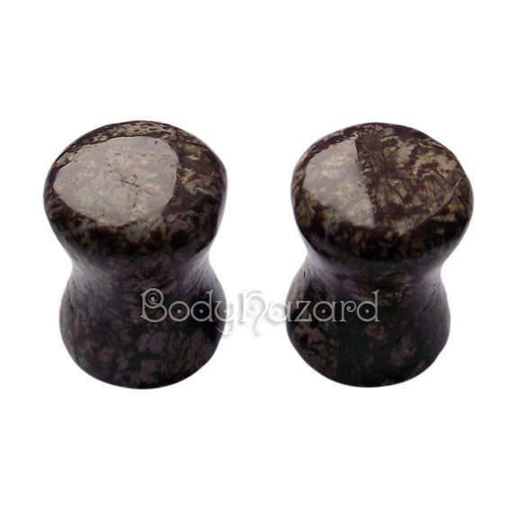Pair of 0G (8mm) Naodelite Stone Double Flared Ear Plugs Hand Made - Ready to Ship