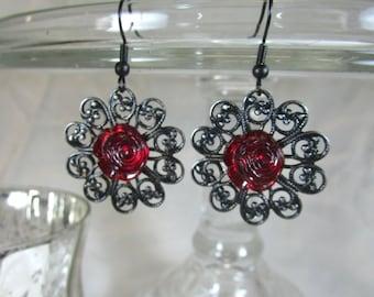 SALE  Dramatic Vintage Red Roses on Black earrings