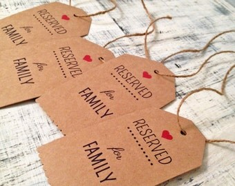 Reserved for family seat tags for wedding ceremony - rustic wedding theme - set of 4