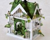 SALE! Bird House with Butterflies  - Shamrock Green with Peridot Butterflies and Flowers