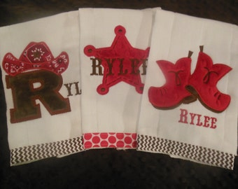 Red Cowgirl/Cowboy Burp Cloth Set