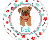 "Puppy Love Personalized 10"" Melamine Plate, 20 oz. Bowl or 2 Piece Set 