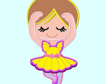 Ballerina Blonde Hair Applique Embroidery Design    INSTANT DOWNLOAD