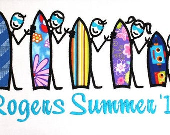 The Stick People Summer Surfers Family Embroidery APPLIQUE Designs 5 designs INSTANT DOWNLOAD