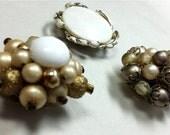 White & Gold 1950s-60s Vintage Cluster Gem Blossom Magnets 3 pc. Set