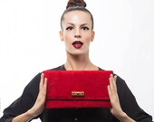 Red Leather Clutch - Suede Evening Envelope Purse or Bag