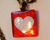 Red holographic heart glass tile necklace with antique bronze 16 inch chain