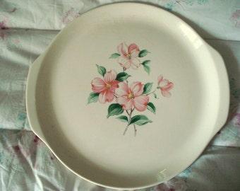 Vintage Wedding Cake Plate Platter Universal Ballerina Pink Dogwood Shabby Cottage Chic Vintage Bridal Shower