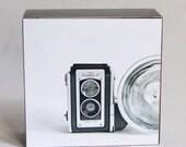 Photography, Wood Photo Block, Mounted Photograph, Ready to Hang, Kodak camera Photo, Wall Art, Vintage Camera