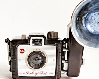 Vintage Kodak Brownie Holiday Flash Camera Photograph, Photograph of a vintage camera, midcentury design, brown, red, blue, silver